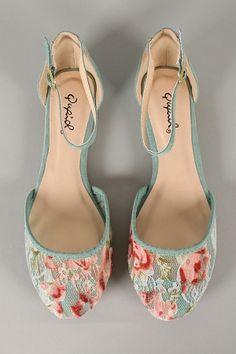 Qupid Savana-214 Lace Round Toe Ankle Strap Flat