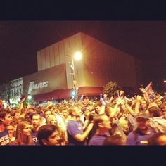 Fireworks, flags, and high-fives. Mass street is crazy #kubball