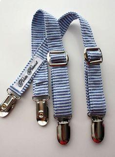 Toddler suspenders in navy seersucker.