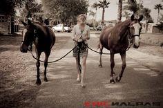 Walking the polo ponies...model Julia schroeder