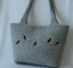 Felted Wool Acadia Bag  hand knit purse by lavenderhillknits