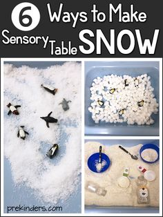 How to make pretend snow in the sensory table for preschool: six ways to make pretend snow and provide children with a variety of texture experiences. Snow Activities, Winter Activities For Kids, Toddler Activities, Winter Preschool Activities, Sensory Activities For Preschoolers, Kindergarten Crafts, Preschool Classroom, Toddler Crafts, Preschool Ideas