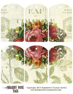 Ephemera's Vintage Garden: Free Printable Tags: Shabby Roses