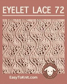 Eyelet Lace Japanese Feather - Easy To Knit Lace Knitting Stitches, Lace Knitting Patterns, Knitting Charts, Loom Knitting, Stitch Patterns, Tricot D'art, Japanese Crochet Patterns, Eyelet Lace, Knit Lace