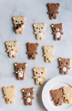 fork to belly rilakkuma cookies - Thaedin - Herrlicher Kuchen Kawaii Cookies, Cute Cookies, Cute Snacks, Cute Desserts, Rilakkuma Cake, Kawai Japan, Japanese Cookies, Cute Baking, Kawaii Dessert