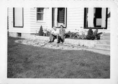 Photograph Snapshot Vintage Black and White Couple House Yard Dress 1940'S | eBay
