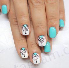 What's an American Manicure? Pastel Nails, Cute Acrylic Nails, Cute Nails, Pretty Nails, Indian Nails, Mandala Nails, Gel Nagel Design, Tribal Nails, Dream Nails