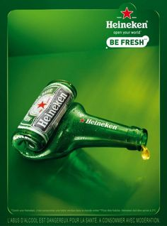 The Print Ad titled Empty bottle - simple was done by Publicis Conseil Paris advertising agency for brand: Heineken in France. Guerilla Marketing, Street Marketing, Clever Advertising, Advertising Design, Marketing And Advertising, Ad Design, Branding Design, Slide Design, Old Posters