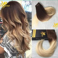 Remy Real Seamless PU Tape In Human Hair Extensions Ombre Brown to Blonde Silky #Ugea #SeamlessSkinWeftTapeInHair