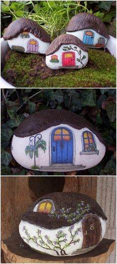 You are going to love these Painted Rock Fairy Houses and they are the cutest ideas ever. See how to make your own and watch the video tutorial too. Rock Painting Patterns, Rock Painting Ideas Easy, Rock Painting Designs, Garden Painting, Pebble Painting, Pebble Art, Stone Painting, Painted Garden Rocks, Painted Rocks Craft