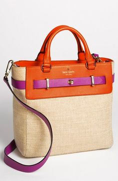 kate spade new york 'bourbon street - fabric skyler' tote. Love the contrast between beachy woven cotton and the structured silhouette of the tote, and fuchsia pops so well against orange.