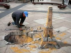 Julian Beever (1959) is a British artist who creates drawings in chalk on pavements and sidewalks, creating three-dimensional illusions.