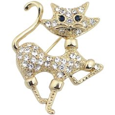 Tip-toeing Golden Cat Brooch
