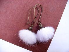 White Fur Earrings, REAL Mink Fur and Brass Filigree Dangle Earrings, FREE Shipping U.S. on Etsy, $17.00