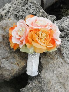 Pink and Orange Bridal Bouquet with Pearl and by AngelicasBridal, $250.00