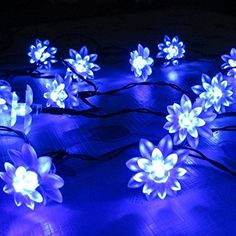 LMID Solar Lights Patio String Lotus 48M 20Leds Garden Outdoor LED Landscape Path Lights Solar Powered LED Lighting Lamp Bulb Christmas String Blue ** Read more  at the image link.
