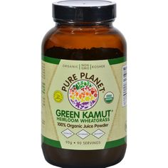 Pure Planet Green Kamut - 3.14 oz - Pure Planet Green Kamut Description:    Whole Food Nutrition  For Optimum Health  The Ultimate Heirloom Wheatgrass  USDA Organic  No Additives or Preservatives  Non-GMO  Gluten Free Green Kamut is grown high in the mountains on an ancient volcanic lake bed brimming with nutrients watered with mineral springs and harvested at the peak of nutrition.   May support healthy immune function  Can help combat fatigue and increase energy  May support natural…