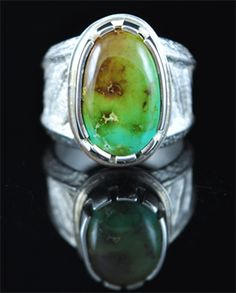 Handmade tufa cast ring, with natural gem grade Royston Turquoise, by Cochiti Pueblo artist Tim Herrera.