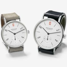 "Doctors Without Borders, German watch brand NOMOS Glashütte has updated its Tangente and Tetra models— with a velour beige or black cordovan leather strap—with a red ""12"" and small ""Doctors Without..."