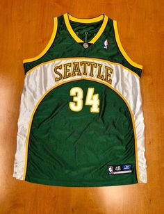 Vintage Ray Allen Seattle Supersonics Authentic Reebok Jersey Size 48 detlef schrempf hershey hawkins oklahoma city thunder champion by BroadwayVintageLLC on Etsy Basketball Design, Love And Basketball, Basketball Jersey, Reebok, Nba, Walt Disney World, Seattle, Wordmark, Jersey Outfit