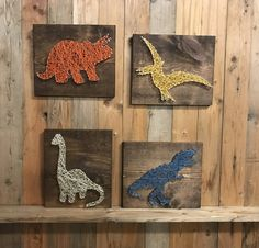 Dinosaur Set Sting Art  Dino Decor  T Rex Art  by UrbanHoot