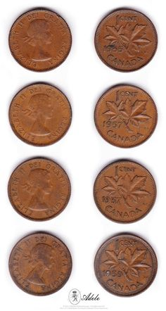 "1953 to 1964 - Elizabeth II ""Dei Gratia Regina""… Valuable Pennies, Rare Pennies, Valuable Coins, Canadian Penny, Canadian Coins, Coin Collection Value, Elizabeth Ii, Maple Leaf, Rare Coins Worth Money"