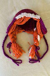 Ravelry: Anna Bonnet (Frozen) pattern by Sheila Toy Stromberg Crochet Kids Hats, Crochet Cap, Crochet Beanie, Crochet Hooks, Frozen Pattern, Frozen Crochet, Frozen Hair, Crochet Character Hats, Bonnet Pattern