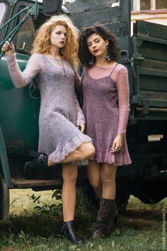 Купить Платье Stones and Birds - серый, однотонный, платье, мохеровое платье, вязание спицами