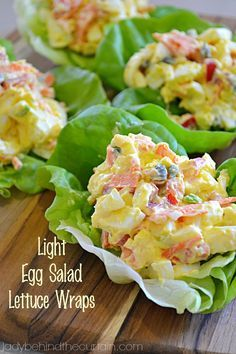 Light Egg Salad Lettuce Wraps These Light Egg Salad Lettuce Wraps are the perfect quick lunch or snack at around 124 calories for two! I'm trying to cut back on the amount of bread products and these Light Egg Salad Lettuce Wraps are perfect. With chopped red pepper, capers, green onion and carrots.