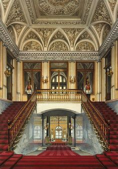 The Personal Entrance to the Apartment of Empress Maria Alexandrovna, Winter Palace, Konstantin Andreyevich Ukhtomsky, 1861