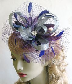 Mixed purple and silver sinamay fascinator hat by alicehartcouture, $125.00 https://www.etsy.com/listing/109128585/mixed-purple-and-silver-sinamay?ref=correlated_featured