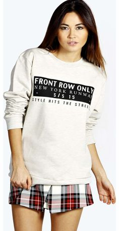 boohoo Diana Runway Slogan Sweatshirt - grey marl Make your top pop this season with sporty, baseball-style basic tees in quilted finishes with ribbed, stripe trims. Crew necks come in block colours, crop tops with mesh inserts and long sleeve jersey http://www.comparestoreprices.co.uk/womens-clothes/boohoo-diana-runway-slogan-sweatshirt--grey-marl.asp