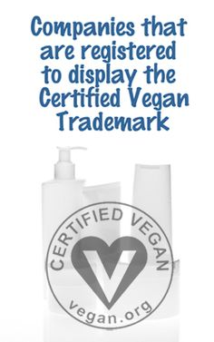 A list of companies that are registered to display the Certified Vegan Trademark.