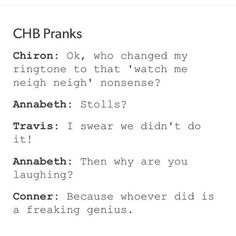 I love how annabeth just goes straight to the stolls<<< I'm pretty everyone around is laughing <== true <<< Percy and Leo did it Percy Jackson Memes, Percy Jackson Books, Percy Jackson Fandom, Percabeth, Solangelo, Percy And Annabeth, Annabeth Chase, Leo Valdez, Rick Riordan Books