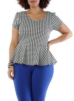 Plus Size Peplum Top Curvy Fashion, Plus Size Fashion, Womens Fashion, Plus Size Peplum, Curvy Style, My Style, Houndstooth, African Fashion, Peplum Tops