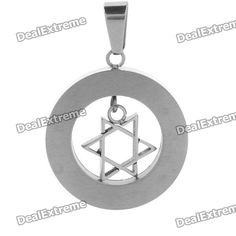 Trendy Stainless Steel Cool Jewish Star Style Men's Pendant - Silver