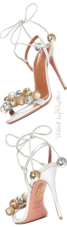 Regilla ⚜ Aquazzura, Disco Thing Sequin-Embellished Sandal