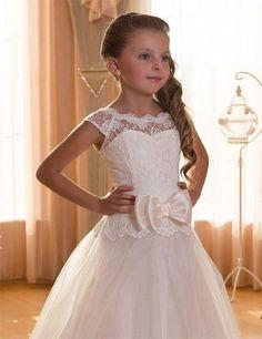 Première Communion robes pour filles Scoop Backless avec Appliques et BowTulle robe de bal Pageant robes pour les petites filles