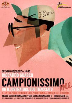 """""""CAMPIONISSIMO ME"""" un illustratore lungo il tracciato @ Museo dei Campionissimi Viale dei Campionissimi, 2 - 15067 Novi Ligure (AL) inaugurazione 2 Gennaio 2015"""