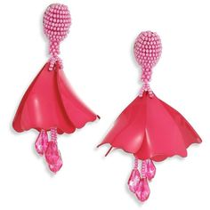 Feather, Crystal And Bead Earrings - Bright pink Oscar De La Renta