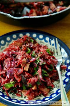 A one skillet meal of sautéed red vegetables--beets, cabbage, and radishes--with a bit of pork for protein. I nicknamed this low carb grain free meal Red Power Dish. Food Dishes, Main Dishes, Red Vegetables, Pork And Cabbage, One Skillet Meals, Cabbage Casserole, Beets, Grain Free, Whole Food Recipes