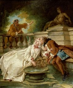 """""""The Alarm; La Gouvernante Fidèle"""". Jean-François de Troy (1679-1752). This painting is a good example of the gallant pieces fashionable in the 18th-century France. It depicts a secret rendezvous set in a romantic garden by a fountain while a maid interrupts the conservation with a dramatic gesture."""