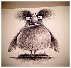 Monster doodle in sketchbook. Pen and ink. #monster #beastie #sketchbook #illustration #penandink #storybook