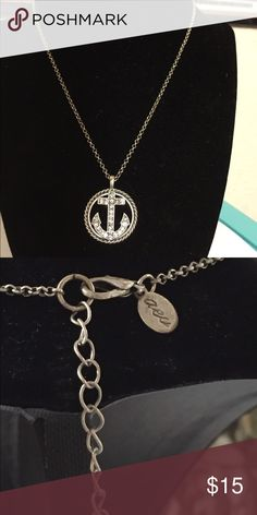 asu anchor necklace with rhinestones on anchor Circle with shiny rhinestones anchor aeu Jewelry Necklaces