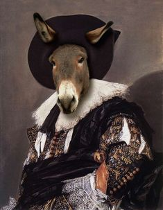 Talbot Fox, Animals in Clothes Vintage Fox Print Anthropomorphic Wildlife Art Photo Collage Whimsical Wall Decor Human Animal Dressed up Dog Portraits, Portrait Art, Animal Paintings, Animal Drawings, Renaissance, Animal Dress Up, Animal Heads, Animal Fashion, Pet Clothes
