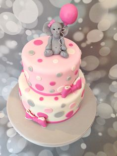 Pink polka dot Elephant baby shower cake, by Amy Hart