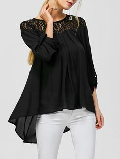 Lace Panel High Low Blouse in Black | Sammydress.com