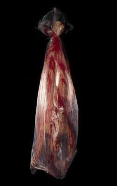 Body Bag With Body - Enough already! A truly unsettling product that does just that. Full sized inverted bloody body in semi-translucent bag. Bag and body included.