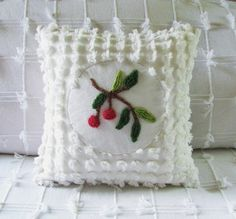 Vintage chenille pillow cover 14 X 14 TWO by moreChenilleChateau...so fun!