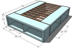 DIY platform bed bedroom - a craft for Dave - with customized openings for whatever baskets or bins (or whatever) we might find to store